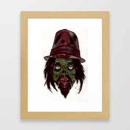 Heads of the Living Dead Zombies: Hat Weirdo Zombie Framed Art Print
