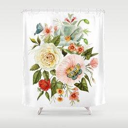 Wildflowers and Butterflies Bouquet  Shower Curtain