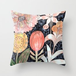 Mixed Flowers with Tulip on Black Throw Pillow