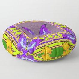 Decorative  Purple  Butterflies Green & Gold Pattern Art Floor Pillow