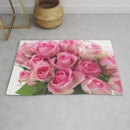 Pink Roses Bouquet Rug