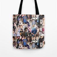 liam payne Tote Bags featuring Liam Payne - Collage by Pepe the frog