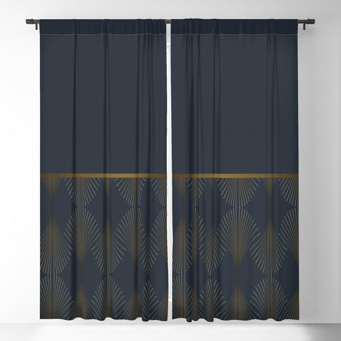 Art Deco Gold/Navy Pattern Blackout Curtain