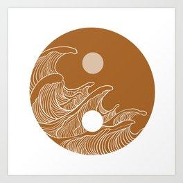 Yin Yang Wave Sun and Moon  Art Print