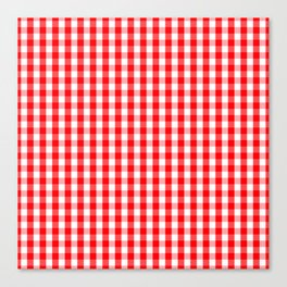 Large Christmas Red and White Gingham Check Plaid Canvas Print