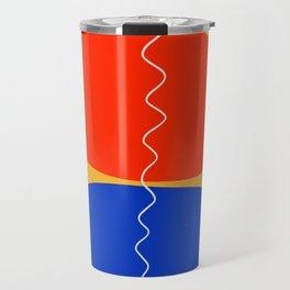 Zen minimal abstract art yellow blue red black Travel Mug