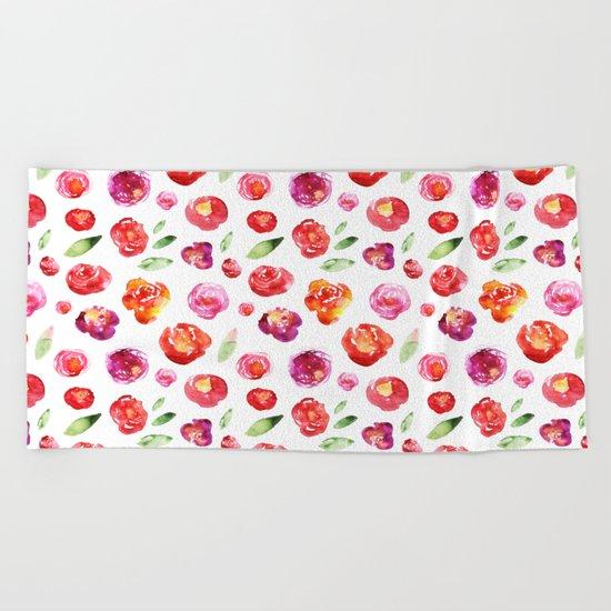 Watercolor flowers #3 Beach Towel