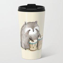 Raccoon on Bongos Travel Mug