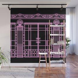 ART DECO, ART NOUVEAU IRONWORK: Pink on Black Wall Mural
