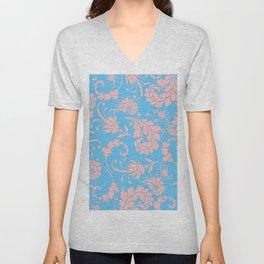 Vintage chic blue coral pink floral damask Unisex V-Neck