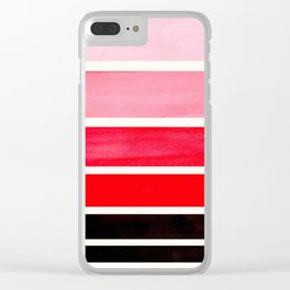 Red Minimalist Mid Century Modern Color Fields Ombre Watercolor Staggered Squares Clear iPhone Case