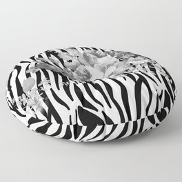 Vintage elegant black white floral zebra animal print collage Floor Pillow