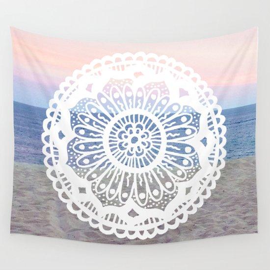 Beach Sunset Mandala Wall Tapestry