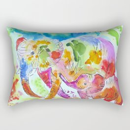 Colourful Mother and Baby Elephant Rectangular Pillow