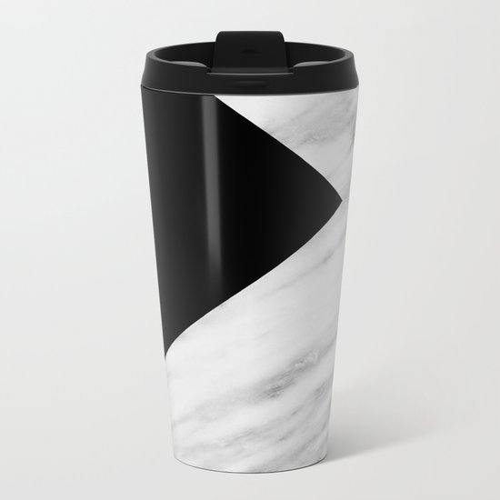 Black Marble Collage Metal Travel Mug