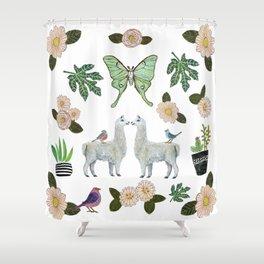 Llama and Luna Moth Shower Curtain