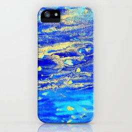 Gold Blue Abstract Art X iPhone Case
