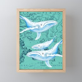 Whale Family Teal Framed Mini Art Print