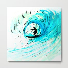 Lone Surfer Tubing the Big Blue Wave Metal Print