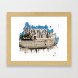 Watercolor painting of Cathedral La Seu in Palma de Mallorca Framed Art Print