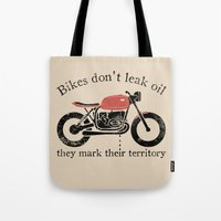 oil Tote Bags featuring oil by The Junkers