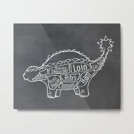 Ankylosaurus Dinosaur (A.K.A. Armored Lizard) Butcher Meat Diagram Metal Print