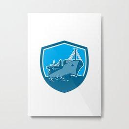 Container Ship Cargo Boat Shield Retro Metal Print