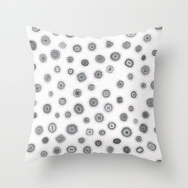 Hand Drawn Buttons Black and White Throw Pillow