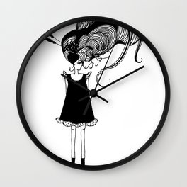 Young Lady with Large Hair Wall Clock