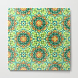 Floral Tile in Turquoise and Orange Metal Print