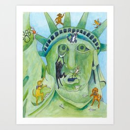 Statue of Liberty Canine Style Art Print