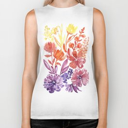 Floral abstract and colorful watercolor illustration Biker Tank