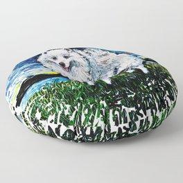 American Eskimo Night (splash version) Floor Pillow