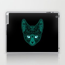 Blue Day of the Dead Sugar Skull Cat Laptop & iPad Skin