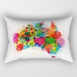 Australia Paint Splashes Map Rectangular Pillow