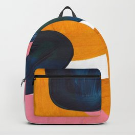 Mid Century Modern Abstract Minimalist Retro Vintage Style Pink Navy Blue Yellow Rollie Pollie Ollie Backpack