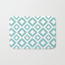 Abstract geometric pattern - blue and white. Bath Mat