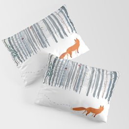 Fox in the white snow winter forest illustration Pillow Sham