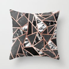 Modern Rose Gold Glitter Marble Geometric Triangle Throw Pillow