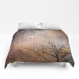 Looking Within - Dramatic sky with birds and trees photo art Comforters