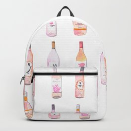 Watercolor Rosé Wine Bottles Backpack