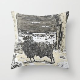 Sheep in a landscape , Richard Roland Holst, 1878 Throw Pillow