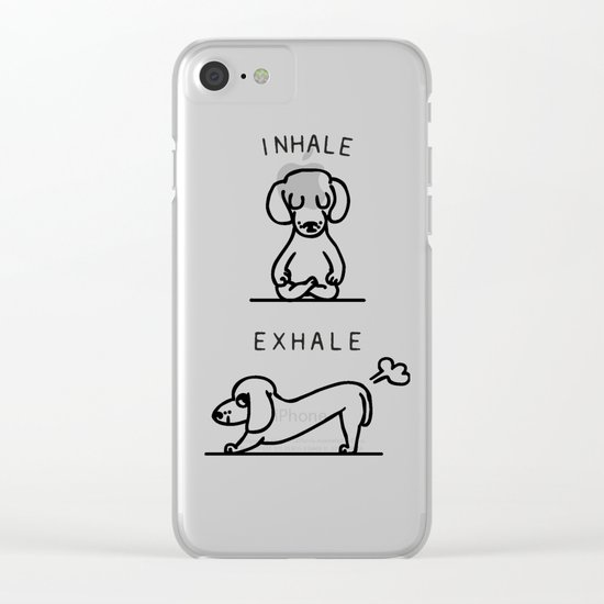 Inhale Exhale Dachshund Clear iPhone Case