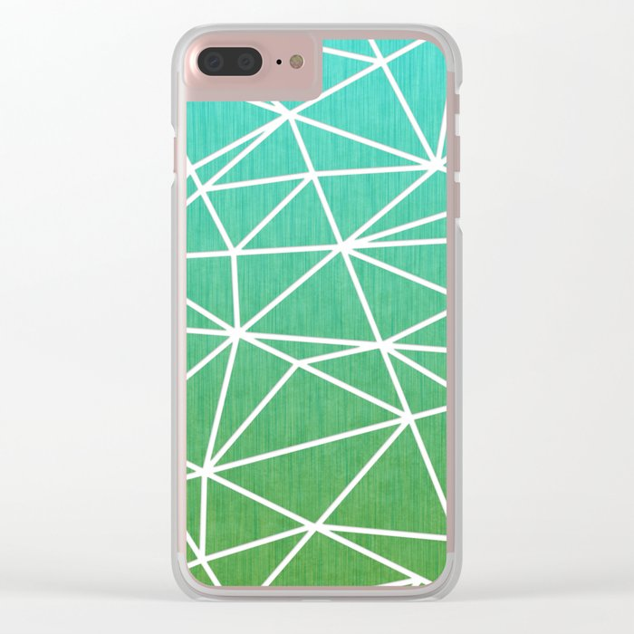 Abstract geometric | green & turquoise Clear iPhone Case
