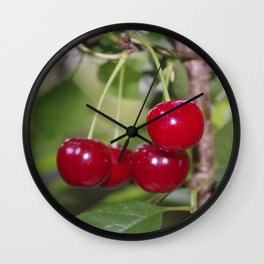 Cherries, fresh on the tree Wall Clock