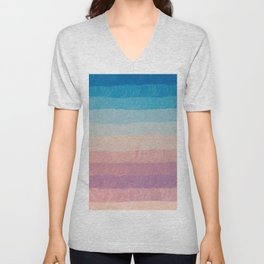 Geometrical navy blue pink watercolor ombre stripes Unisex V-Neck