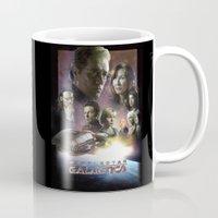battlestar galactica Mugs featuring BATTLESTAR GALACTICA POSTER by tanman1