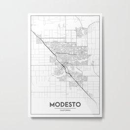 Minimal City Maps - Map Of Modesto, California, United States Metal Print