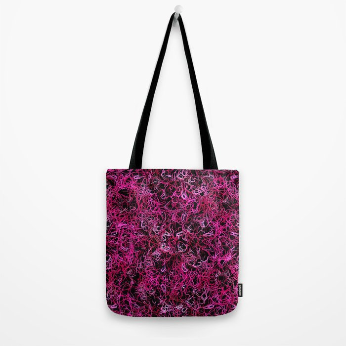 Hot Pink and Black Electric Lines Tote Bag