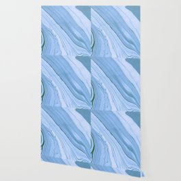 Currents of Blue Marble Pattern Wallpaper